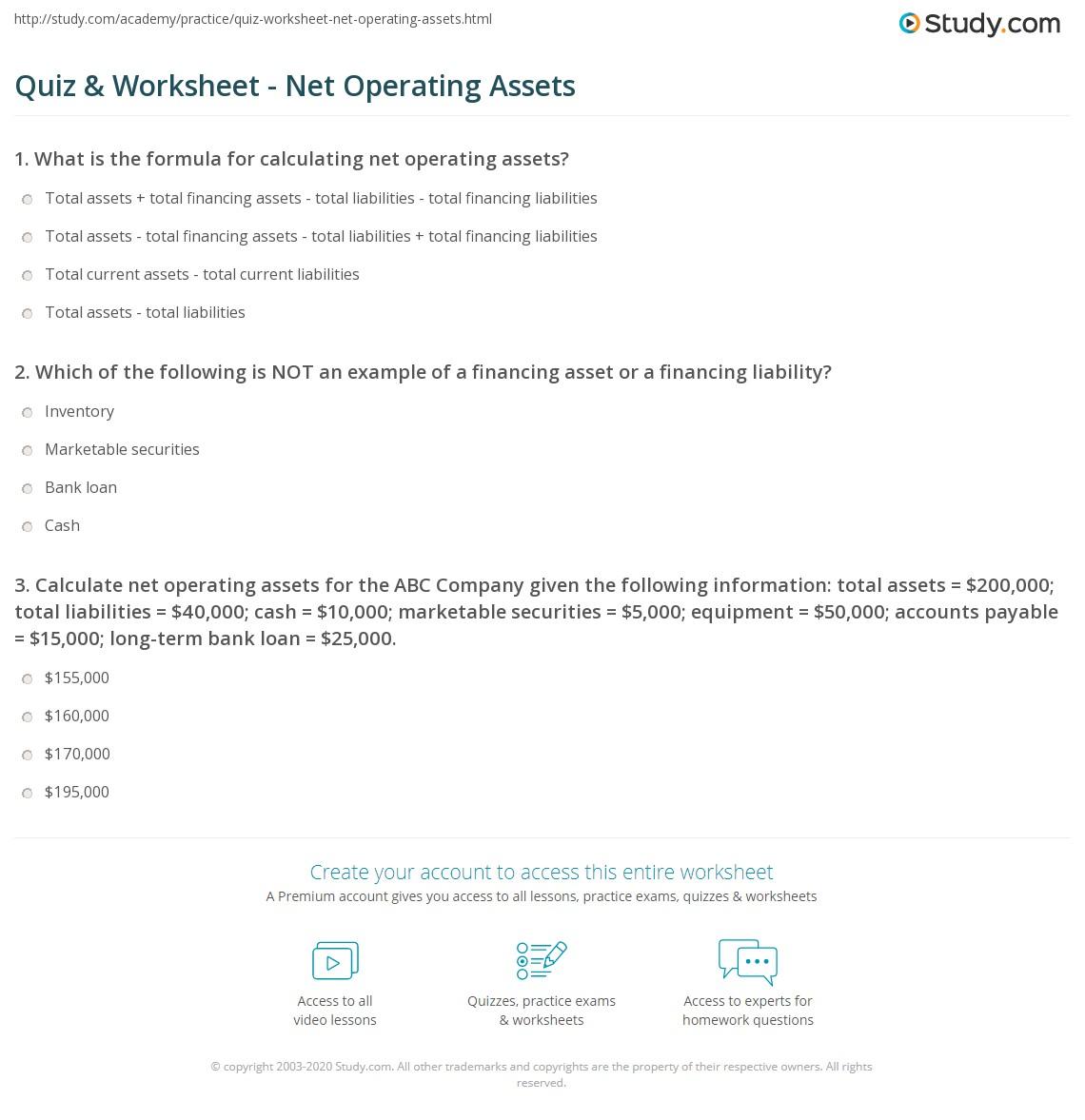 Quiz Worksheet Net Operating Assets – Net Operating Loss Worksheet
