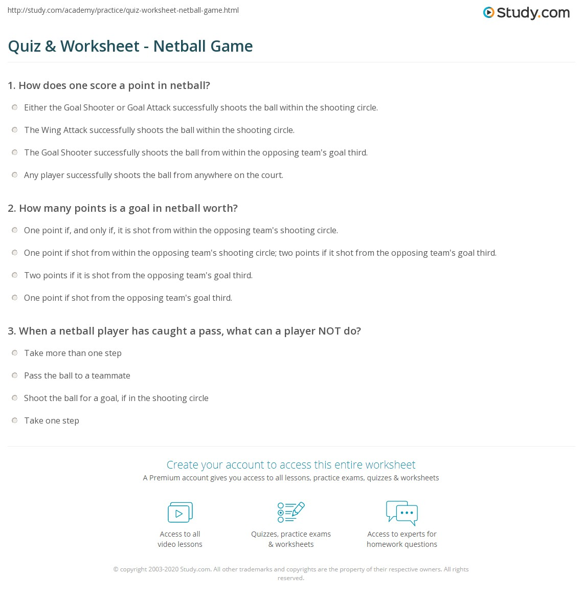 Quiz worksheet netball game study positions rules worksheet fandeluxe Image collections