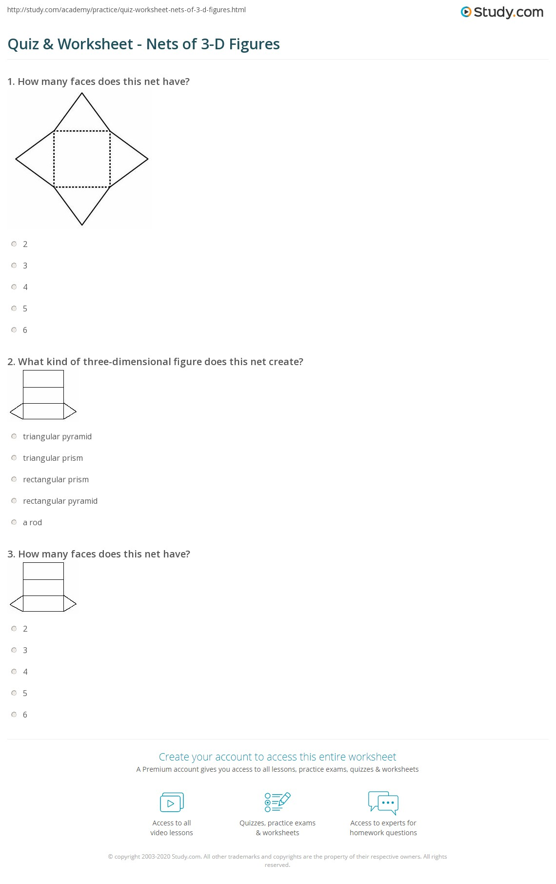 Quiz Worksheet Nets Of 3 D Figures Study