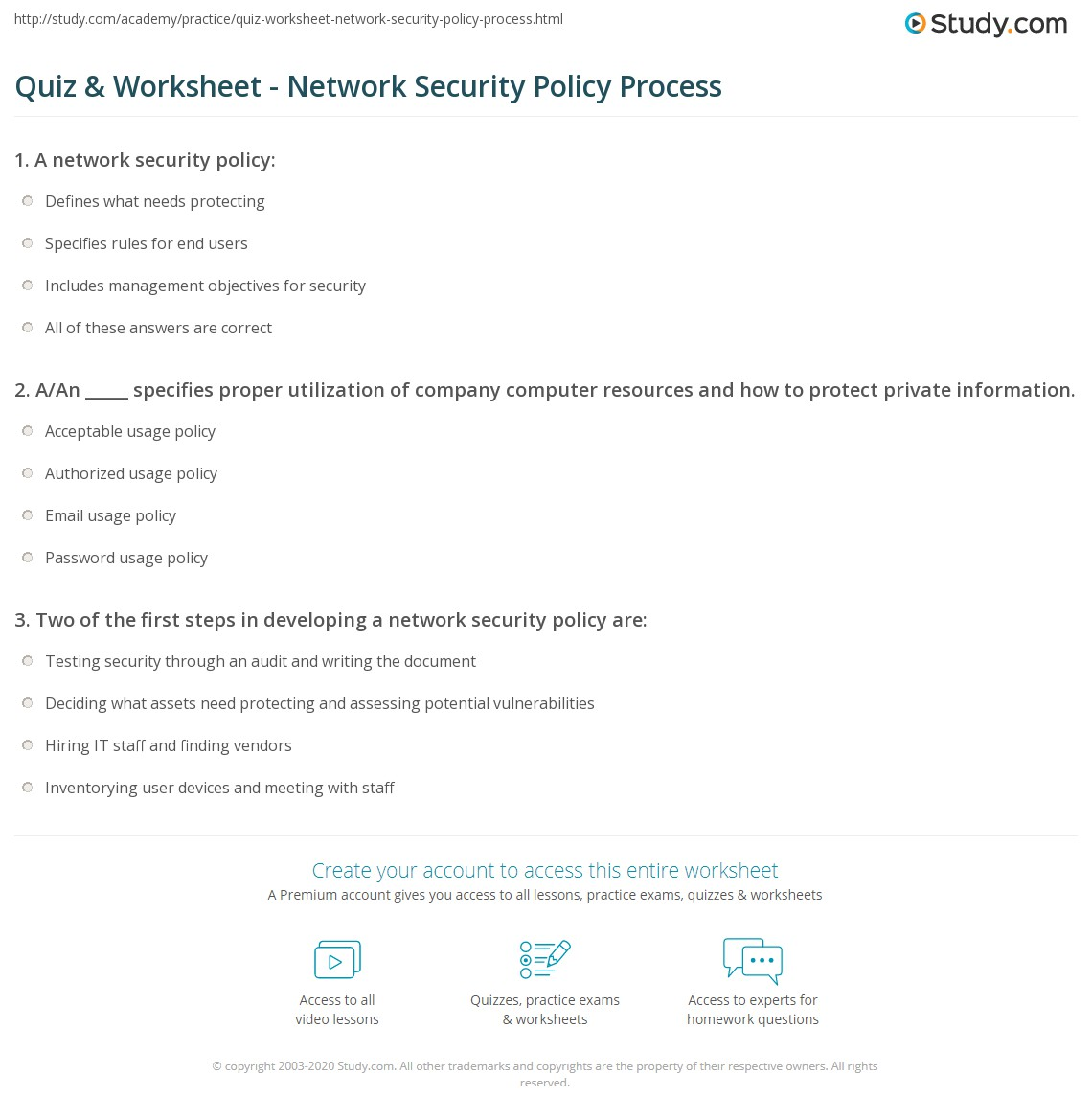 Quiz Worksheet Network Security Policy Process Study