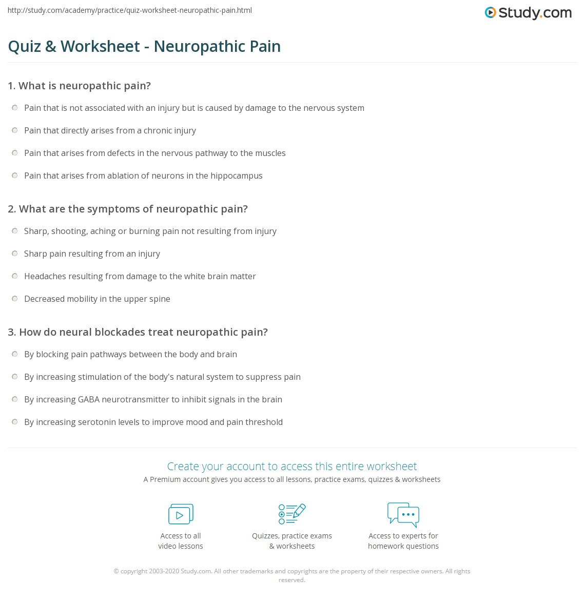 quiz & worksheet - neuropathic pain | study