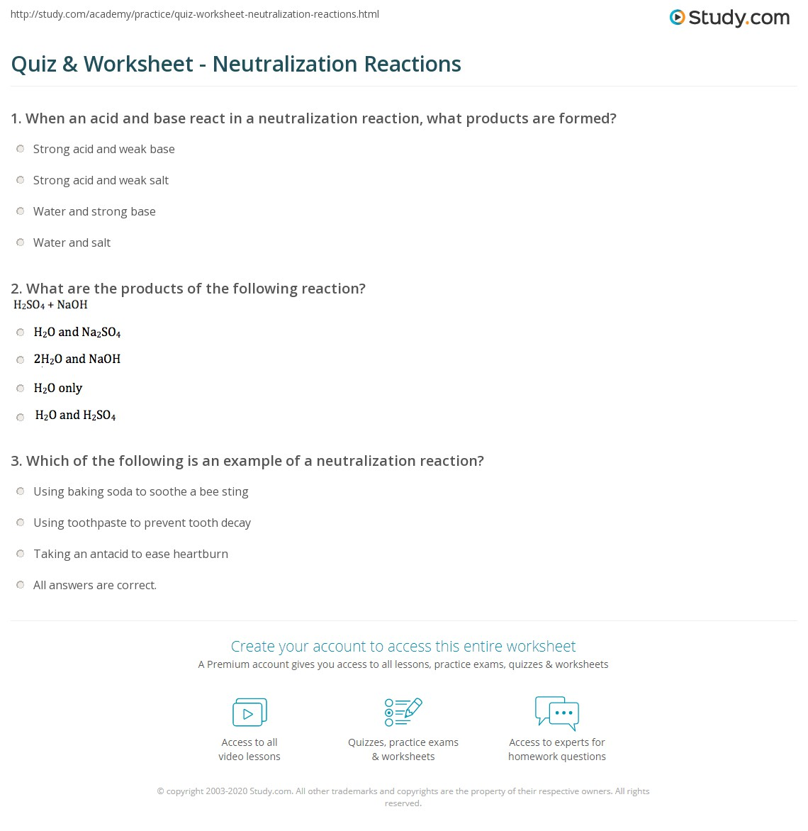 Quiz & Worksheet - Neutralization Reactions | Study com