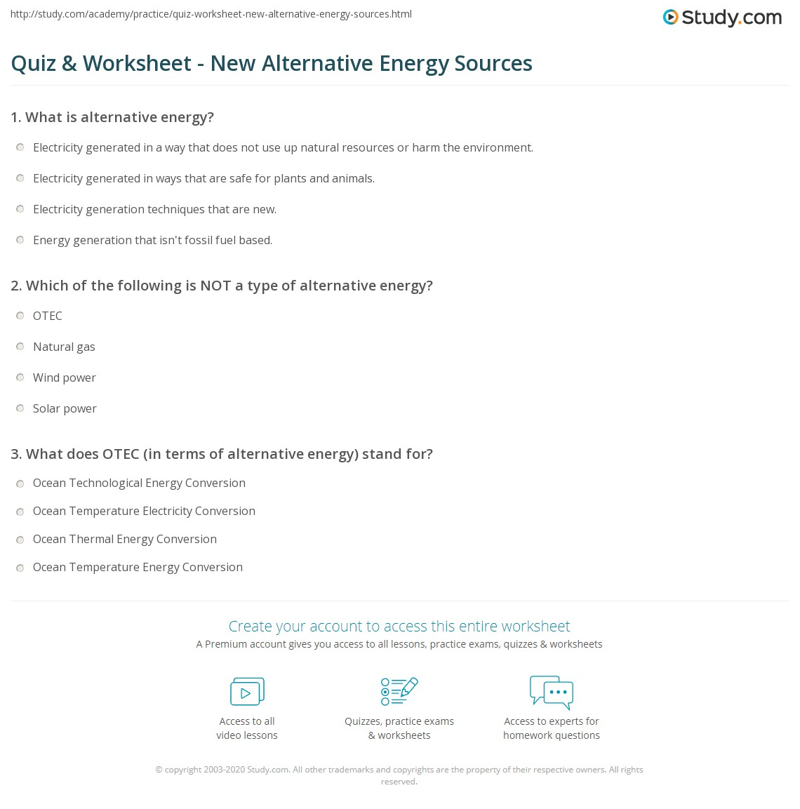 Quiz & Worksheet - New Alternative Energy Sources | Study.com