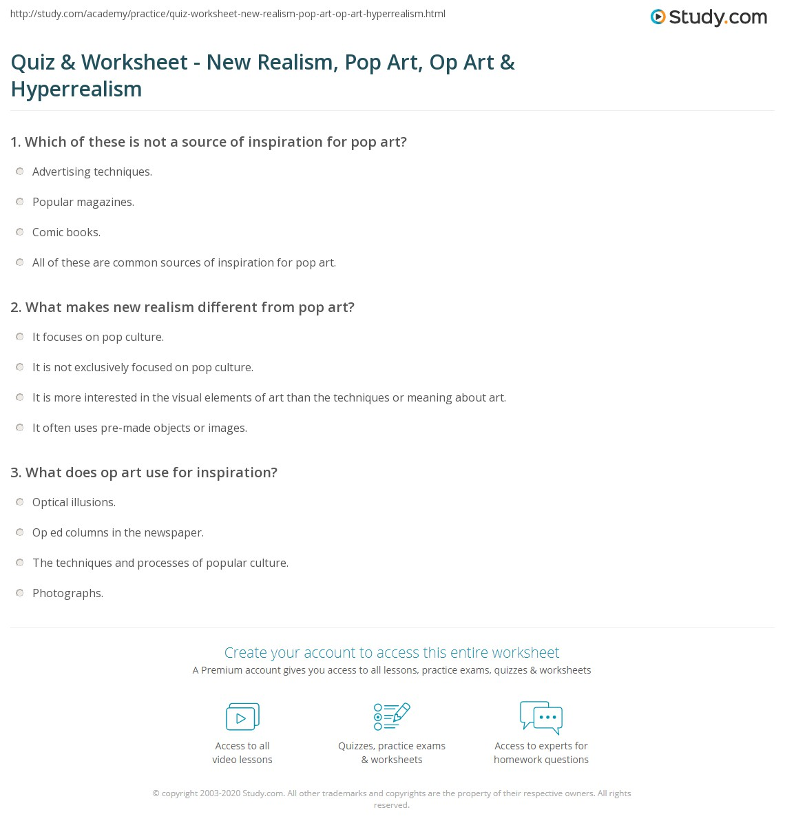 Quiz Worksheet New Realism Pop Art Op Art Hyperrealism – Op Art Worksheet