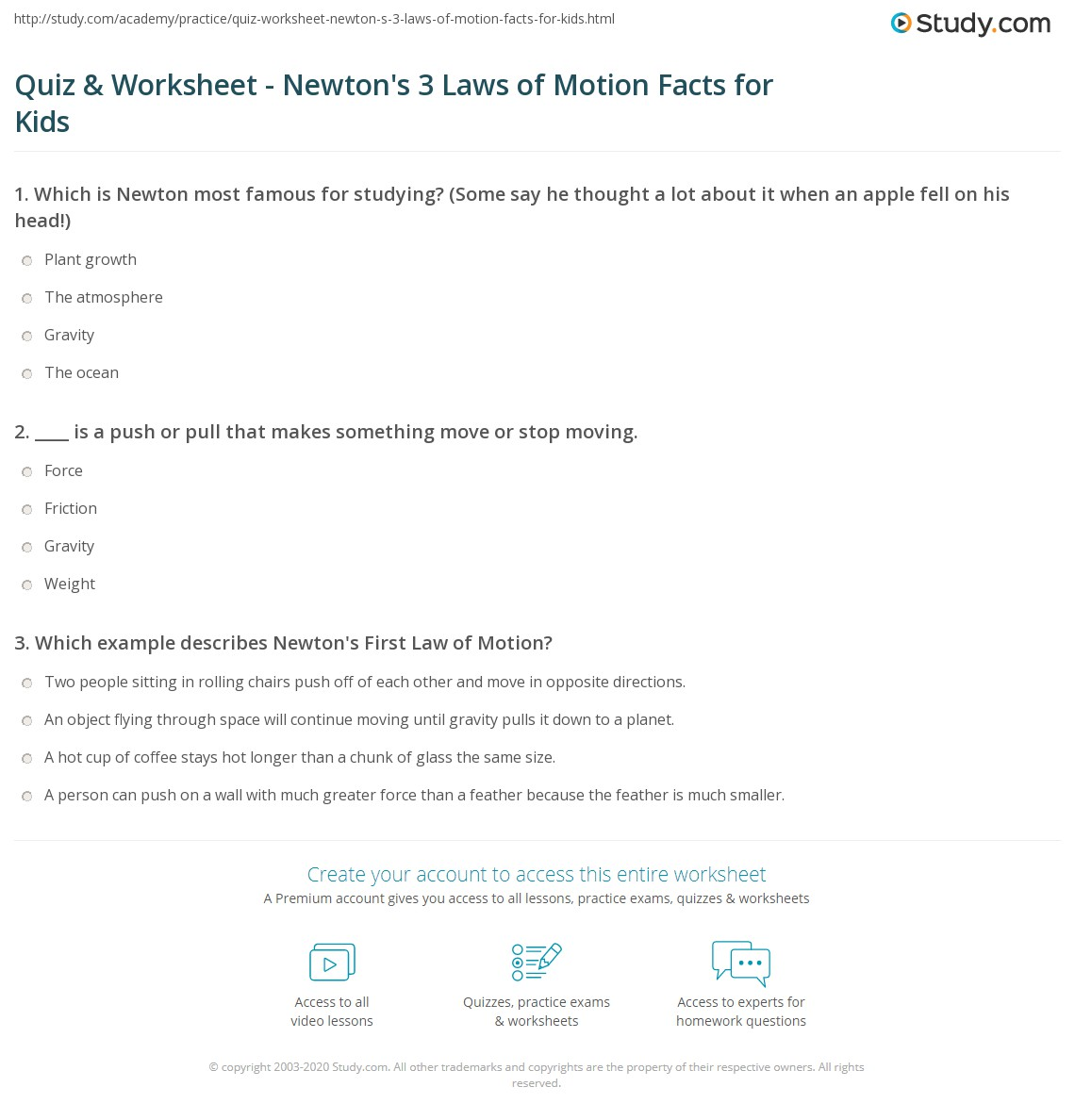 Quiz Worksheet Newton 39 S 3 Laws Of Motion Facts For