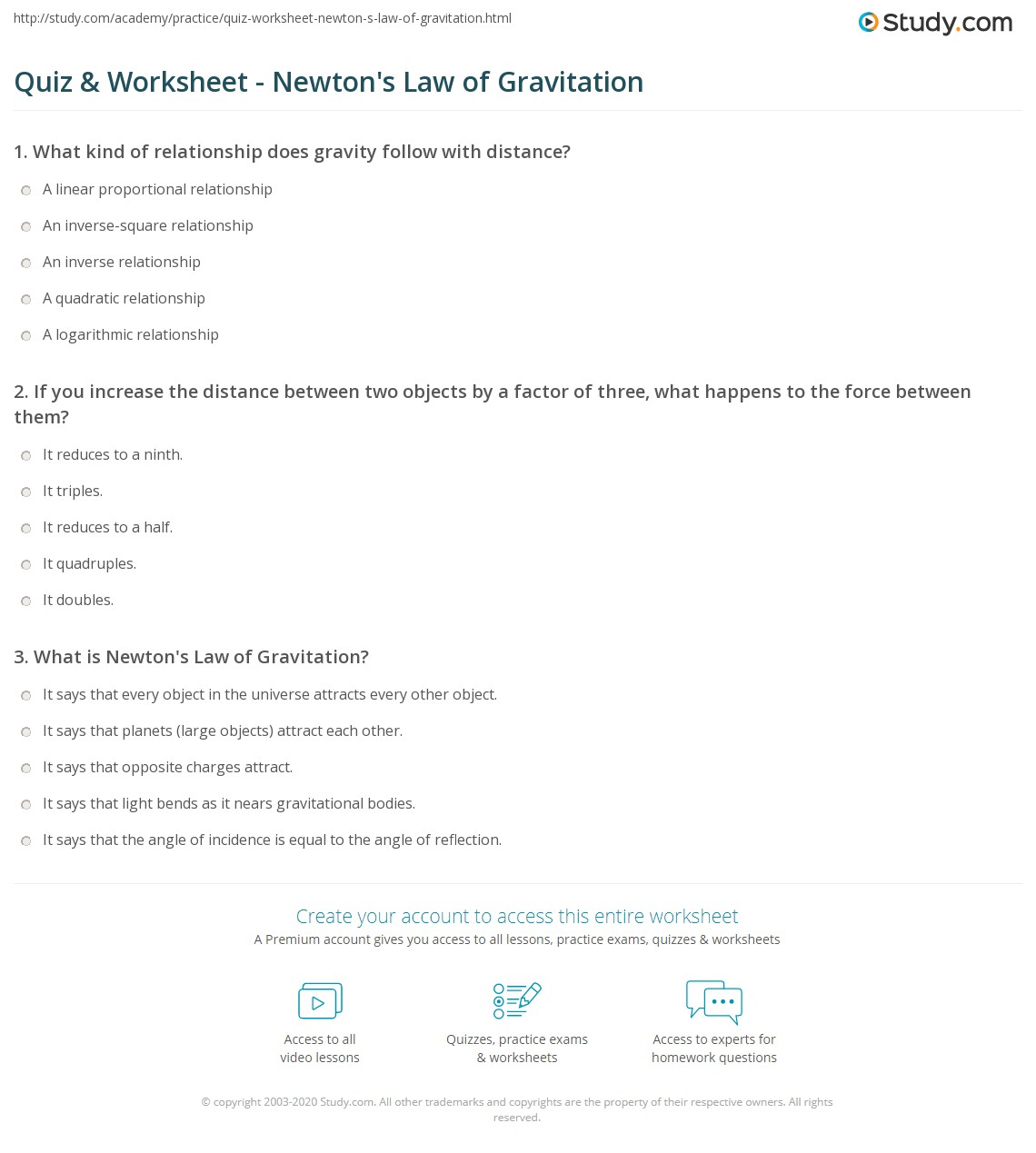 Quiz & Worksheet Newton s Law of Gravitation