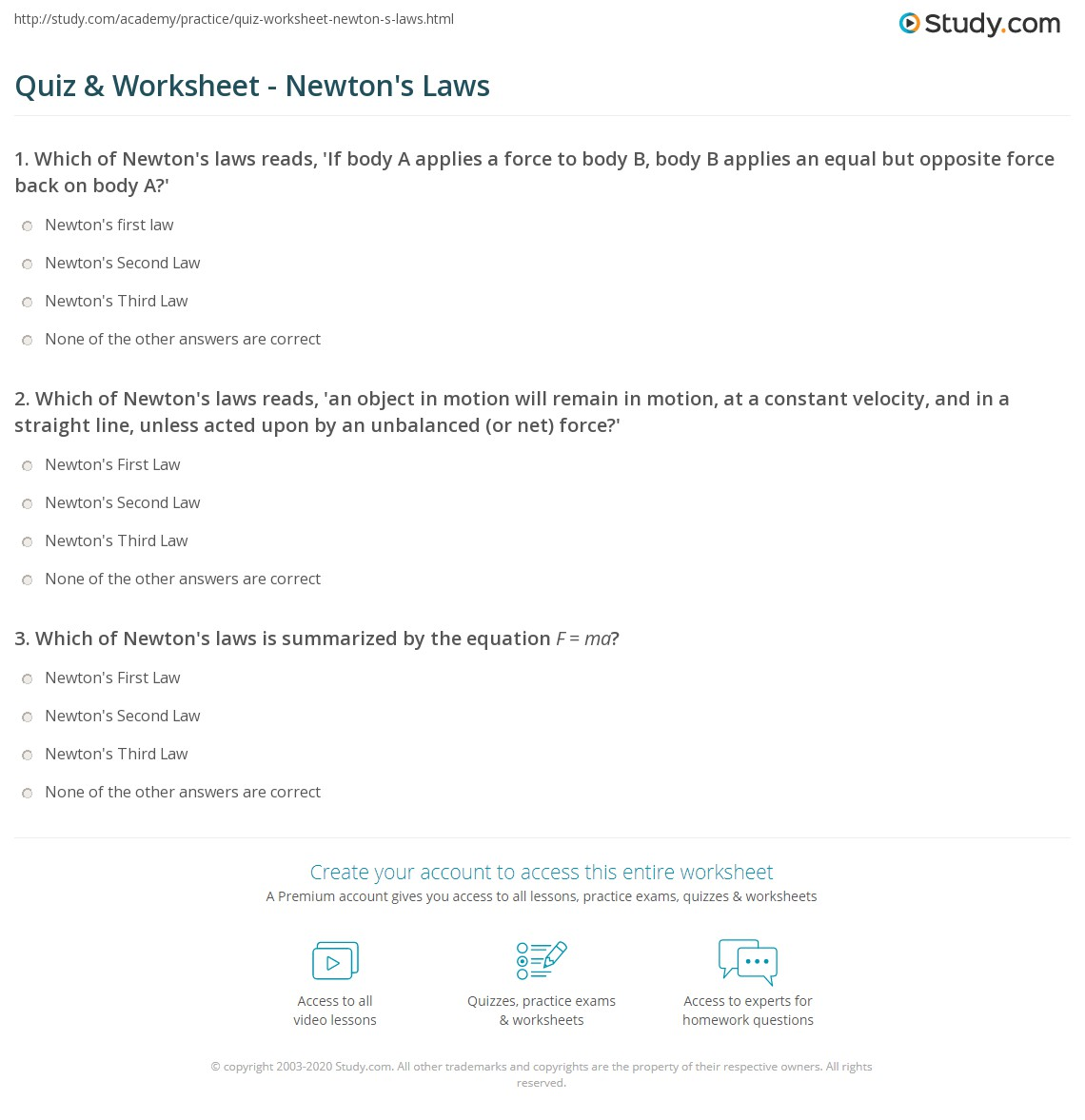 Quiz & Worksheet - Newton's Laws | Study.com