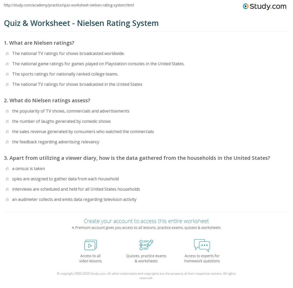 Quiz & Worksheet - Nielsen Rating System | Study com
