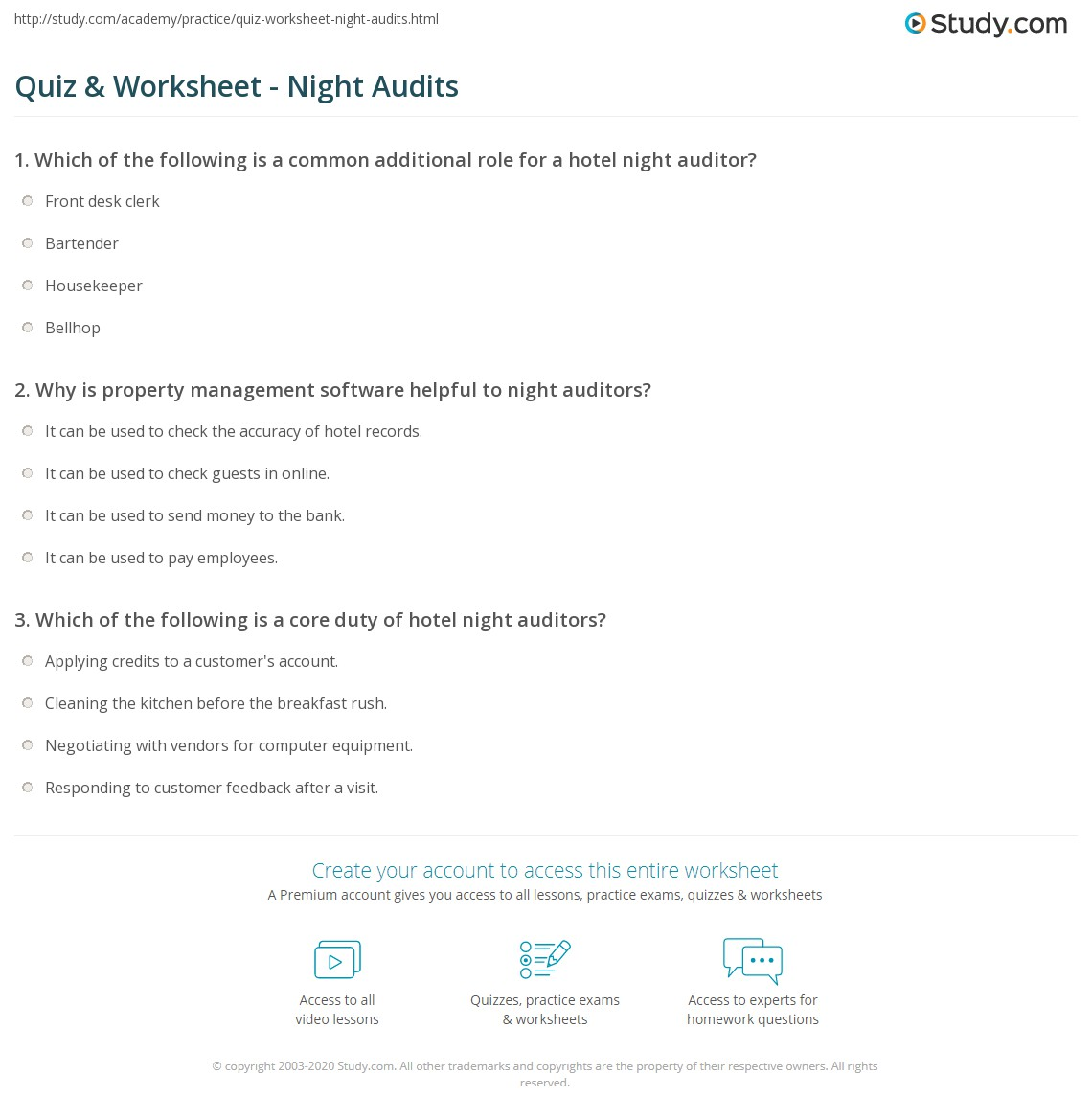 Quiz & Worksheet - Night Audits | Study.com
