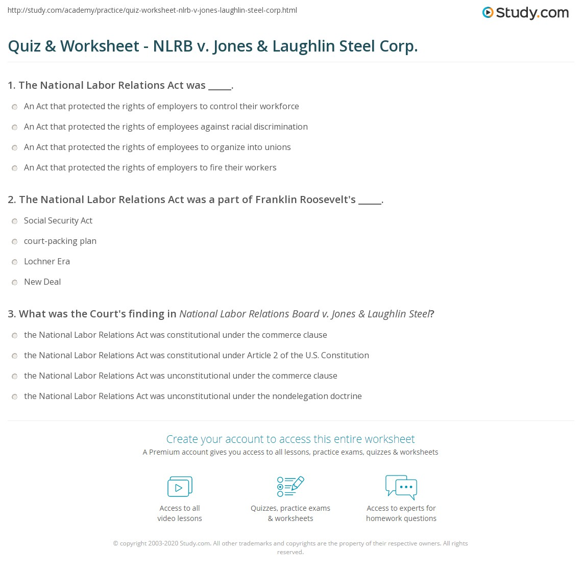 quiz worksheet nlrb v jones laughlin steel corp. Black Bedroom Furniture Sets. Home Design Ideas