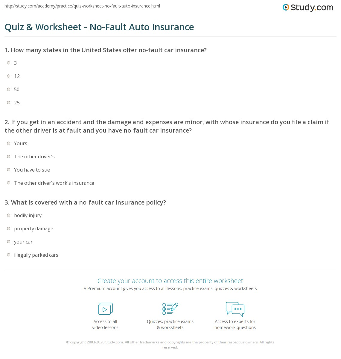 quiz & worksheet - no-fault auto insurance | study