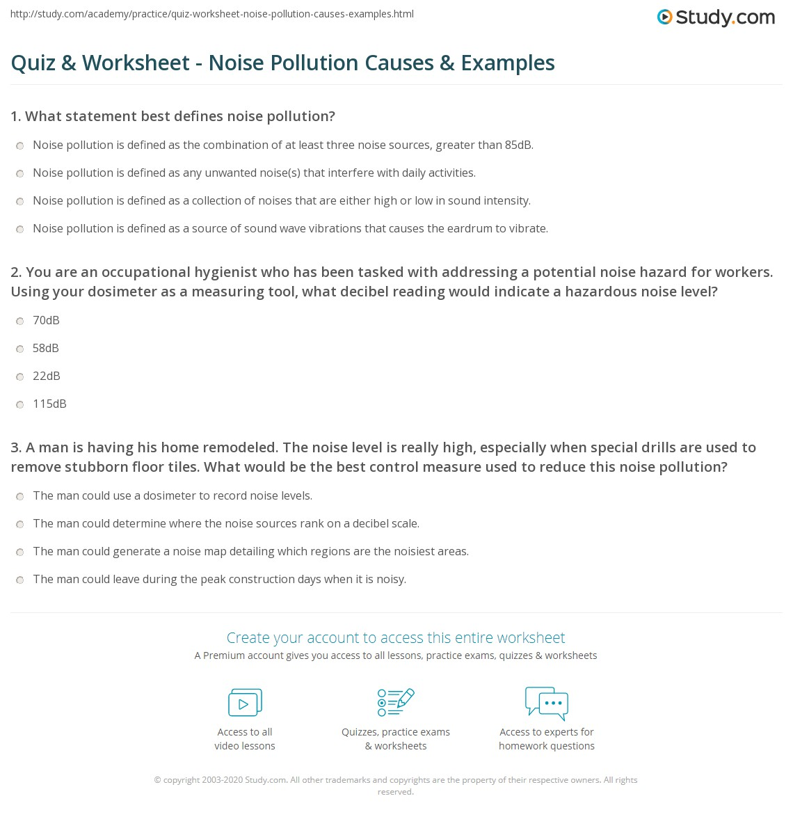Quiz Worksheet Noise Pollution Causes Examples