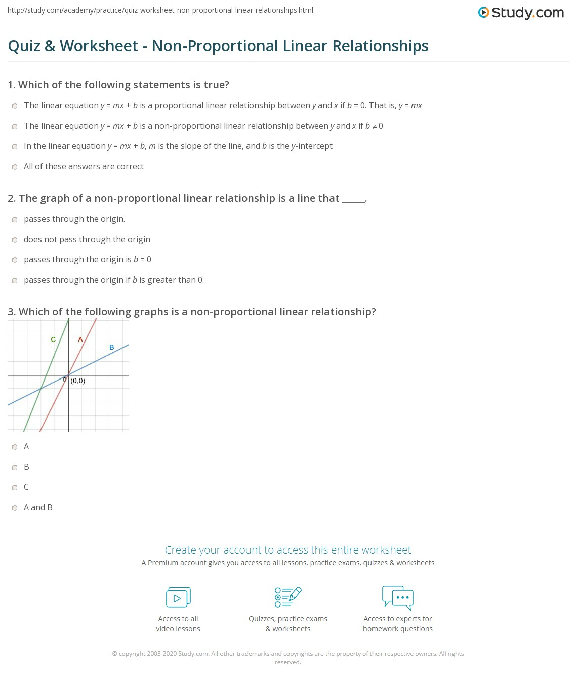 Quiz Worksheet Non Proportional Linear Relationships Study