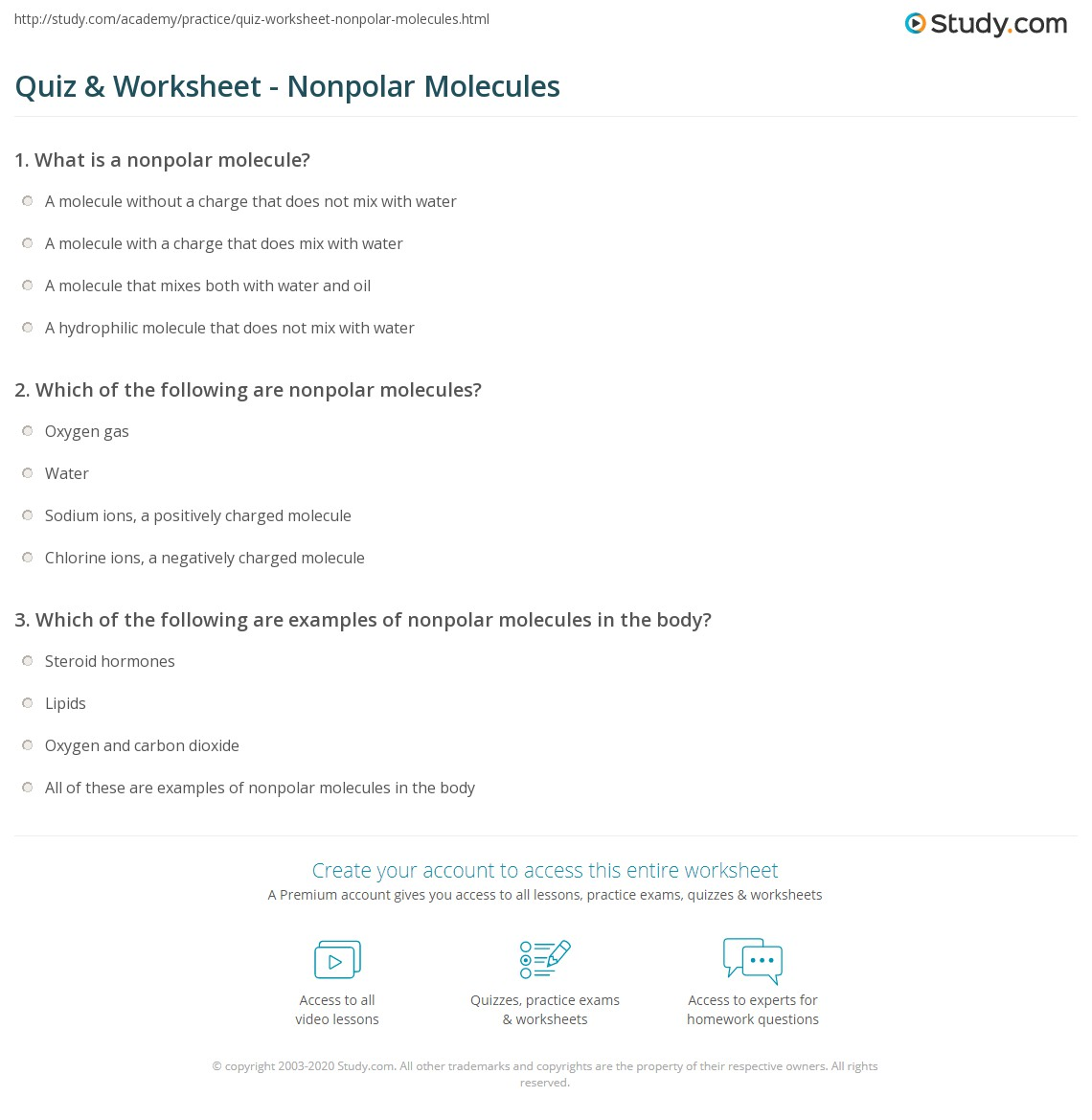 worksheet Polar And Nonpolar Molecules Worksheet quiz worksheet nonpolar molecules study com print molecule definition examples worksheet
