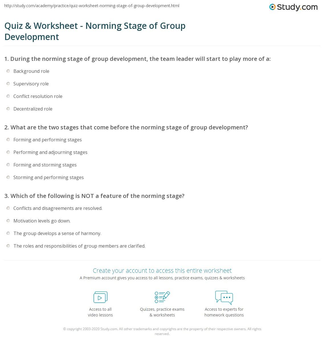 quiz worksheet norming stage of group development com print norming stage of group development definition explanation worksheet