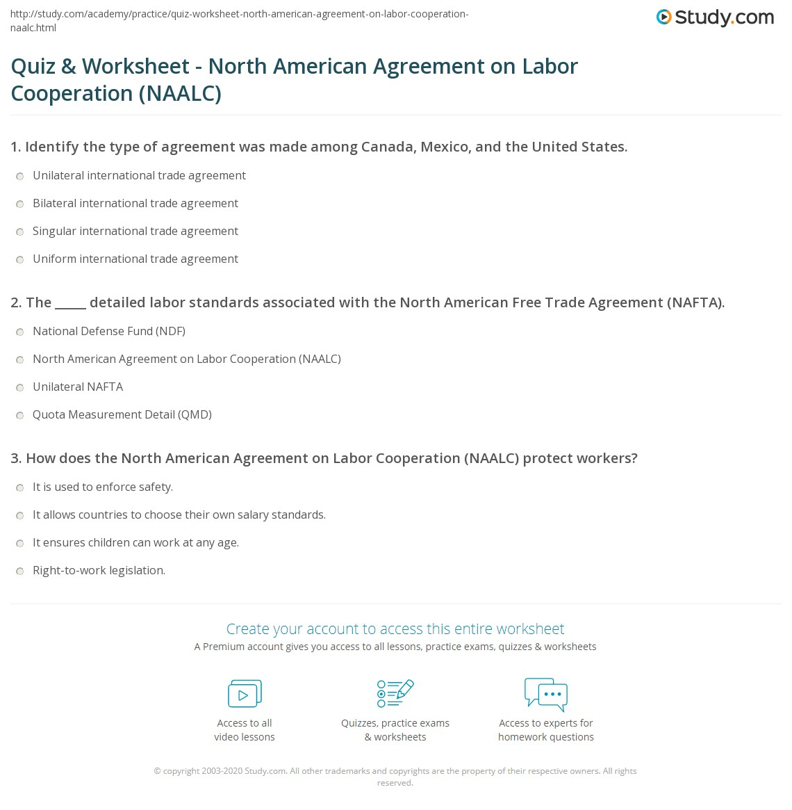 Quiz Worksheet North American Agreement On Labor Cooperation