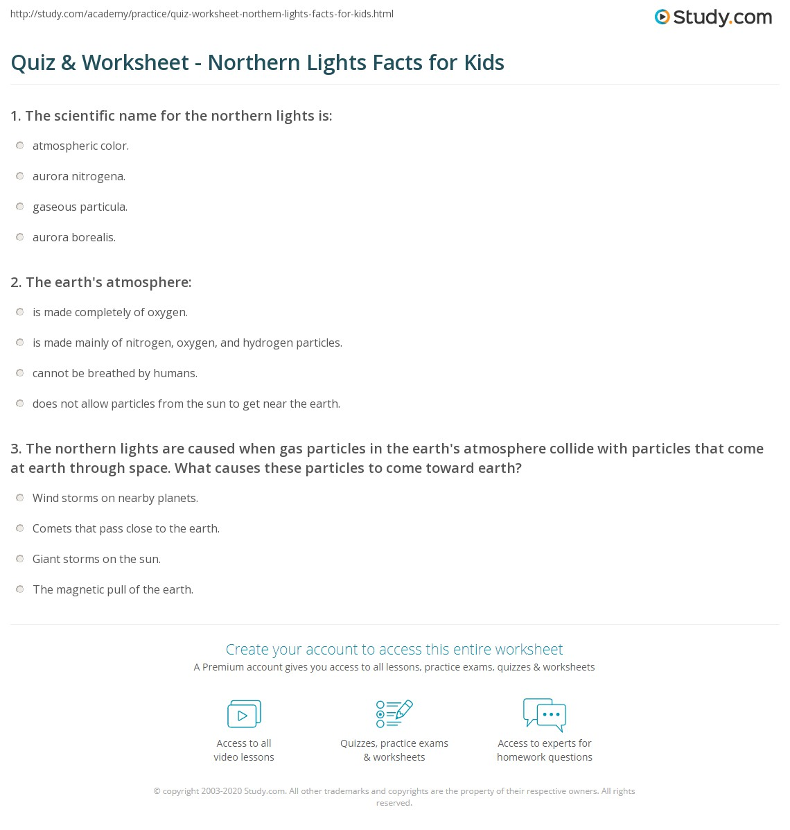Print What Are The Northern Lights?   Lesson For Kids Worksheet