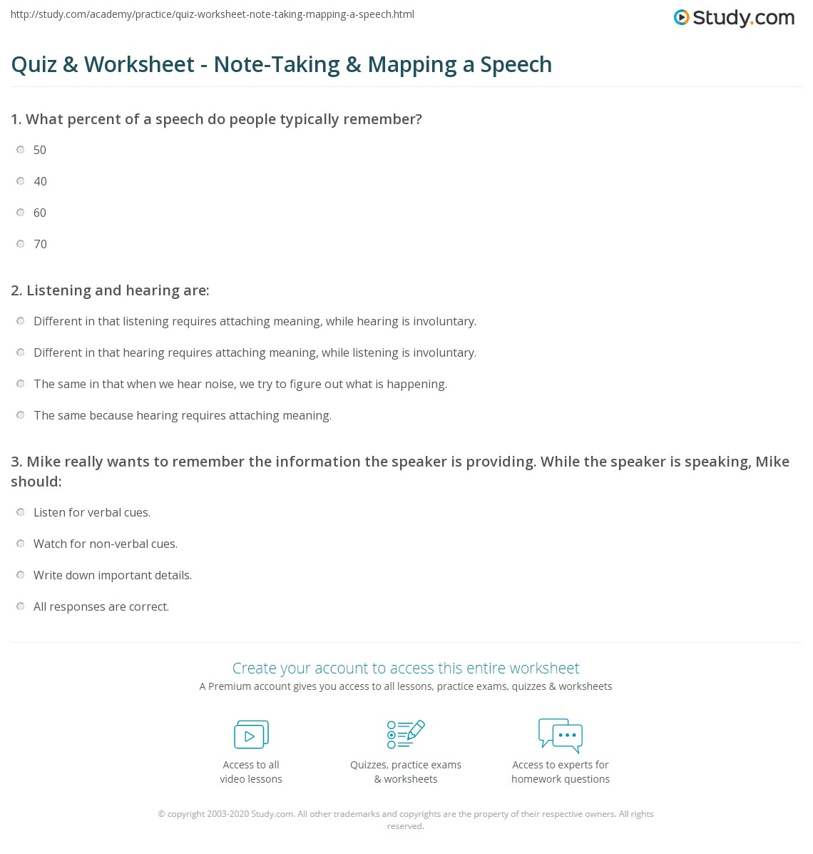 quiz worksheet note taking mapping a speech study com
