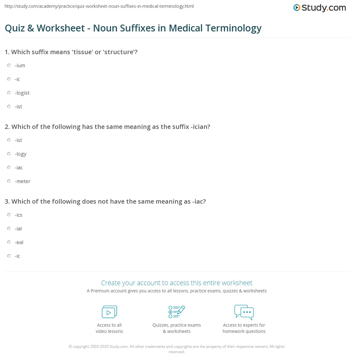 Quiz Worksheet Noun Suffixes In Medical Terminology Study