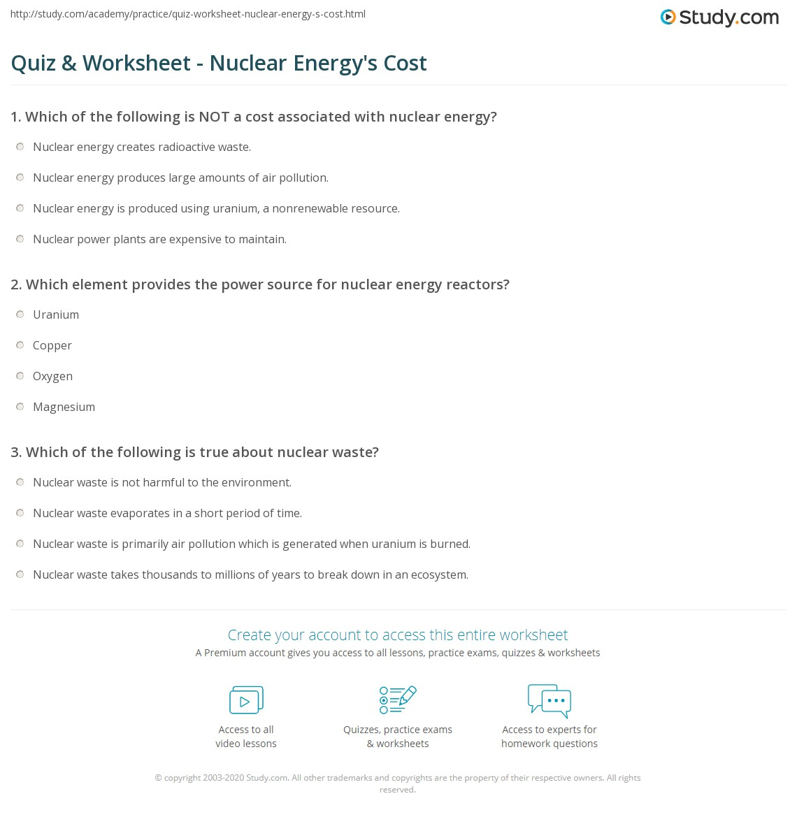 Quiz & Worksheet - Nuclear Energy's Cost | Study.com
