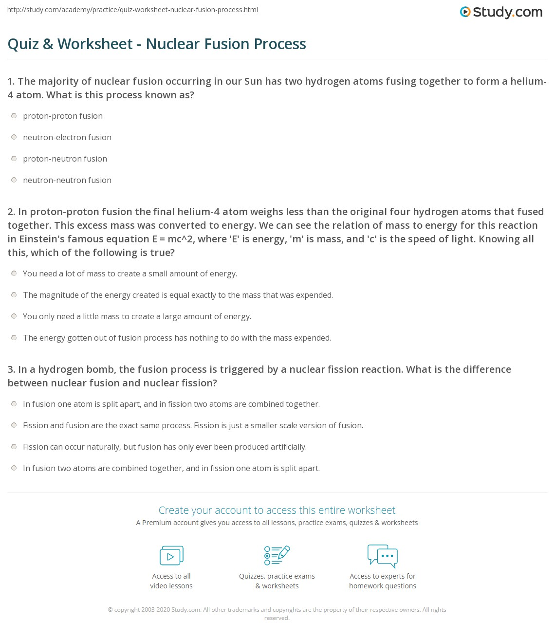 Quiz & Worksheet - Nuclear Fusion Process | Study.com