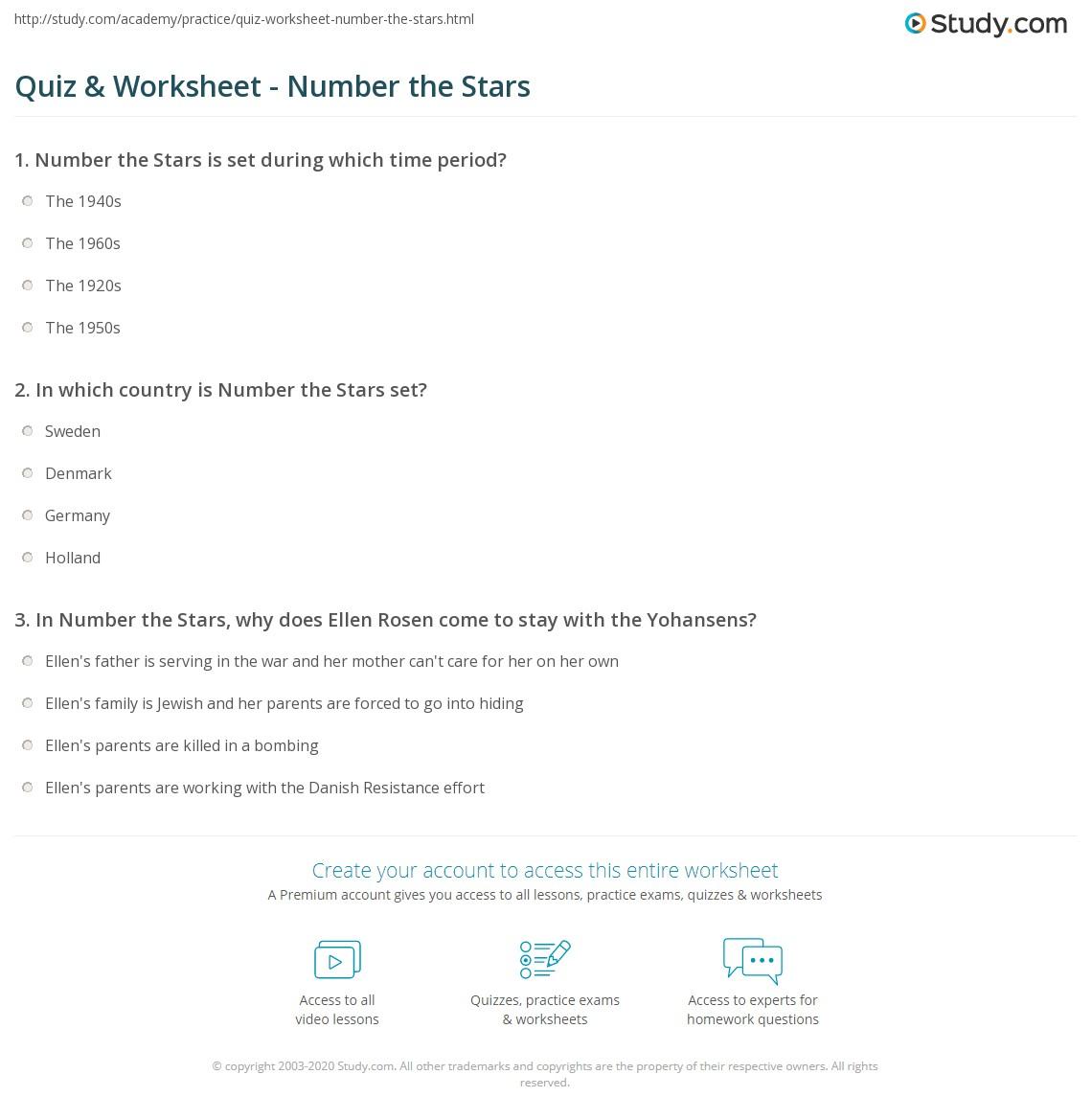 Worksheets Number The Stars Worksheets quiz worksheet number the stars study com print summary characters setting worksheet