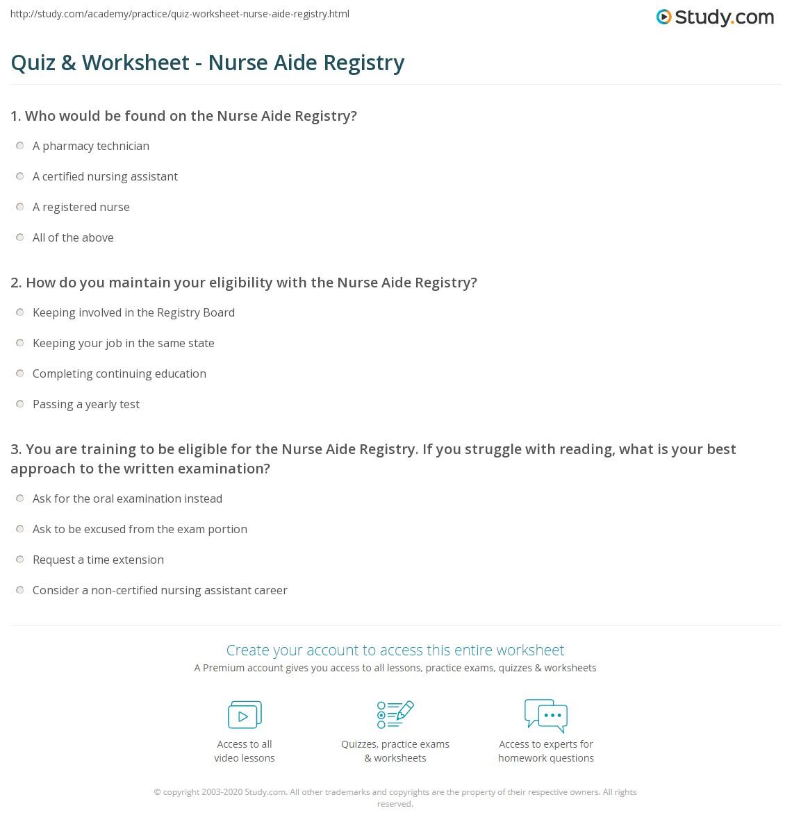 Quiz Worksheet Nurse Aide Registry Study