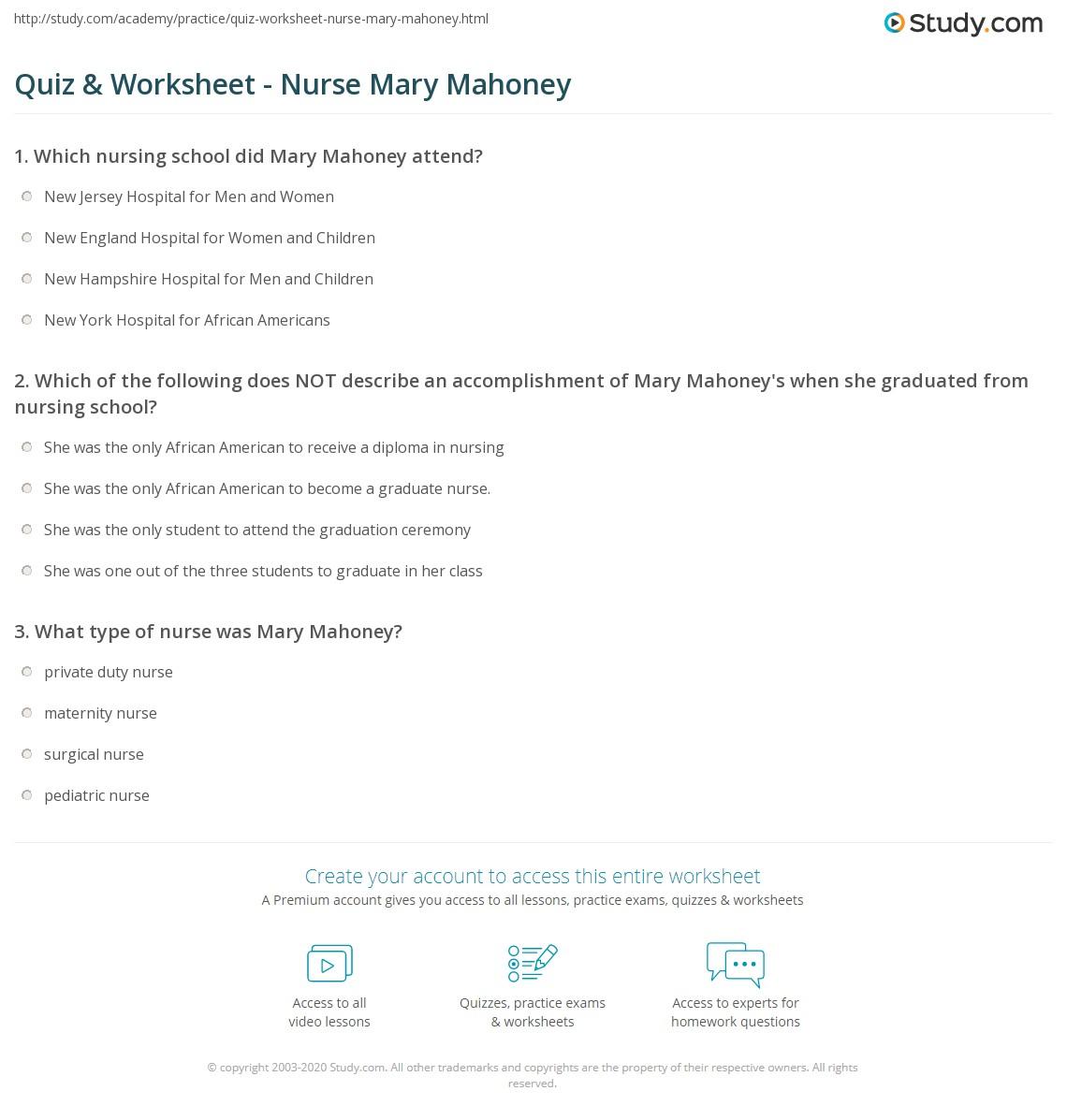 Quiz & Worksheet - Nurse Mary Mahoney   Study.com