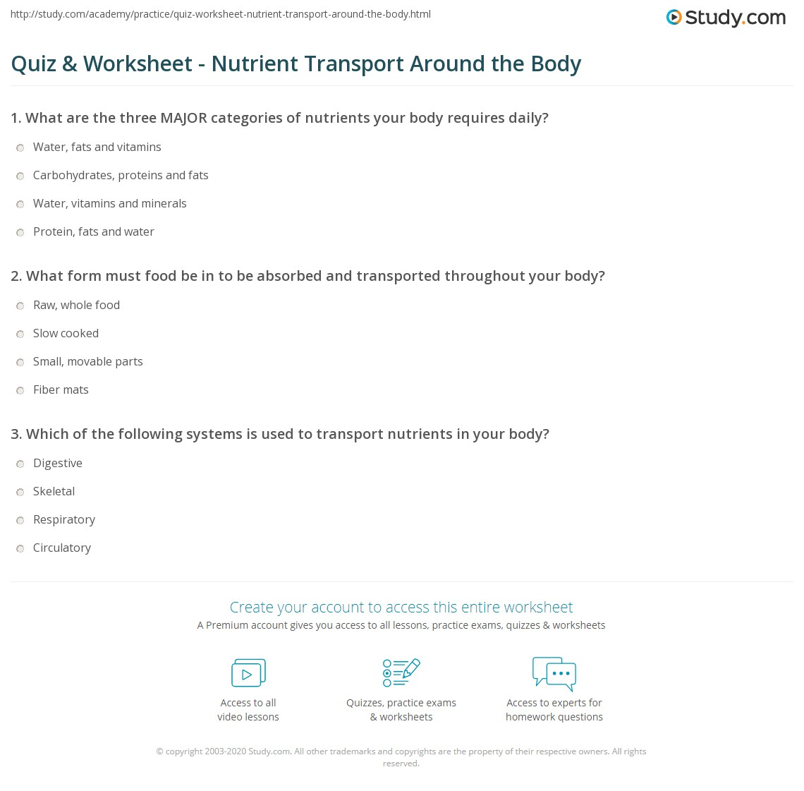 Quiz & Worksheet - Nutrient Transport Around the Body  Study.com multiplication, alphabet worksheets, free worksheets, education, worksheets, and math worksheets Carb Counting Worksheet 2 1317 x 1140