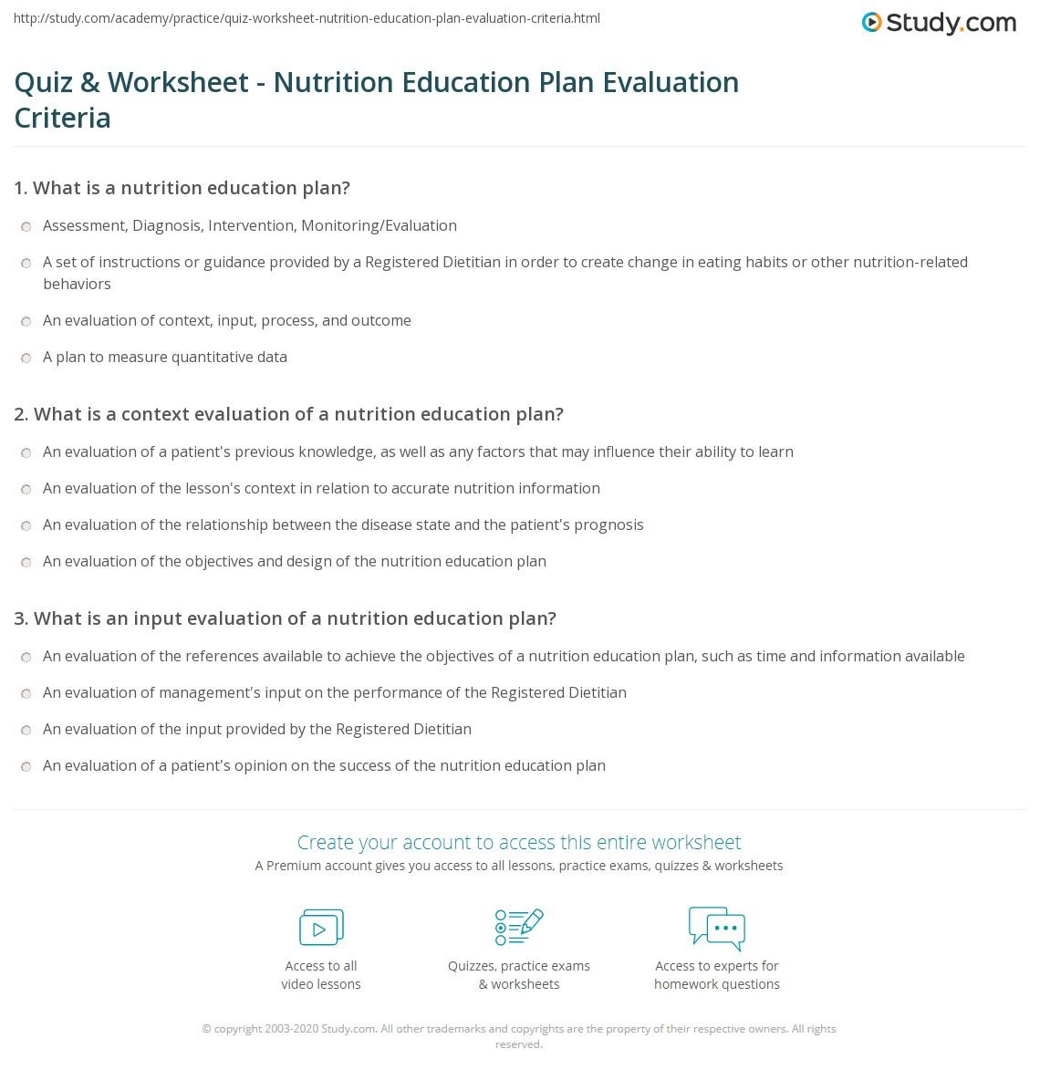 Quiz Worksheet Nutrition Education Plan Evaluation Criteria Study Com