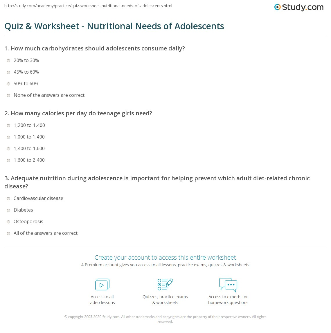 Quiz Worksheet Nutritional Needs of Adolescents – Nutrition Worksheets for Middle School
