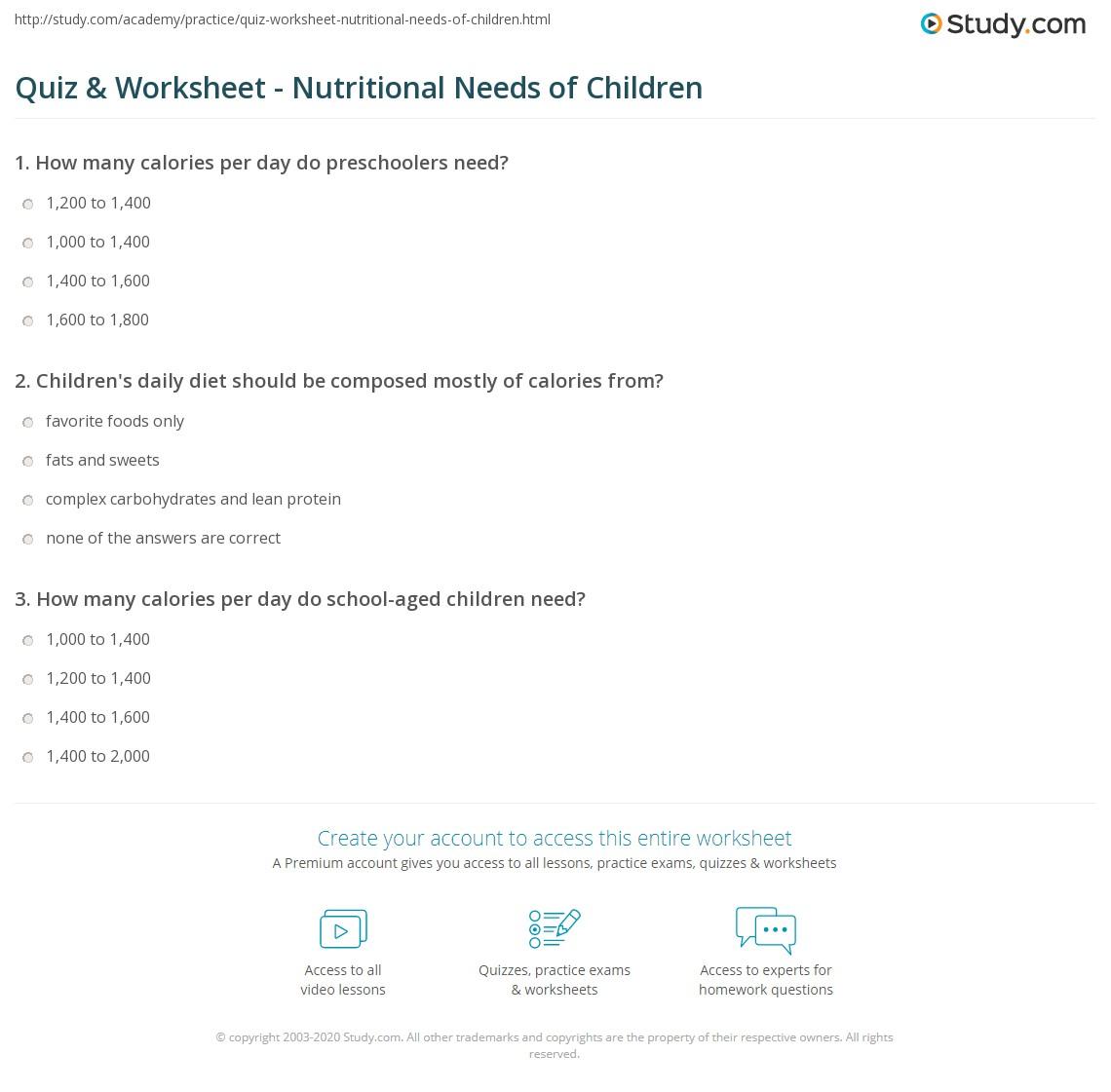 Quiz & Worksheet - Nutritional Needs of Children | Study.com