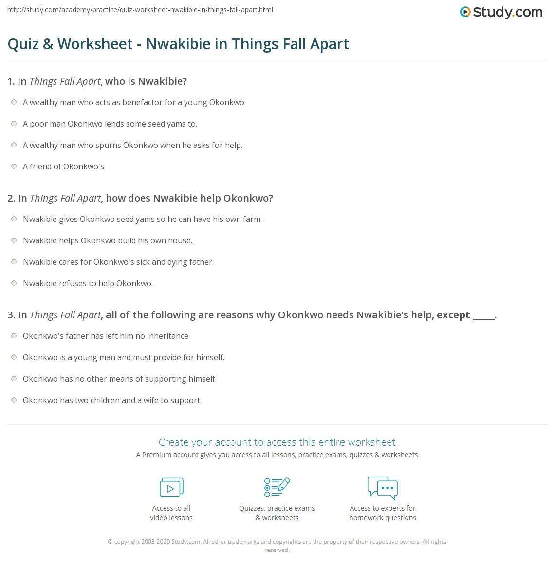 Quiz & Worksheet - Nwakibie In Things Fall Apart