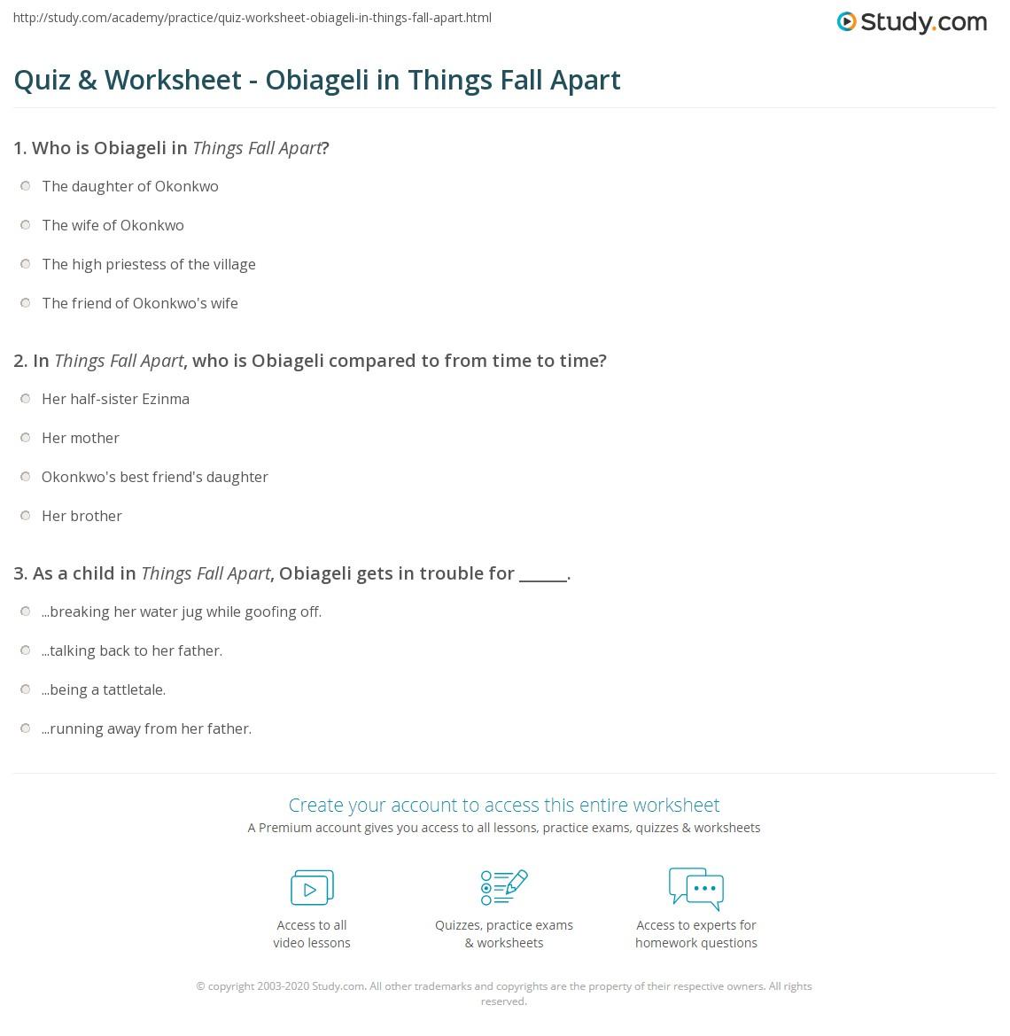 Quiz & Worksheet - Obiageli In Things Fall Apart