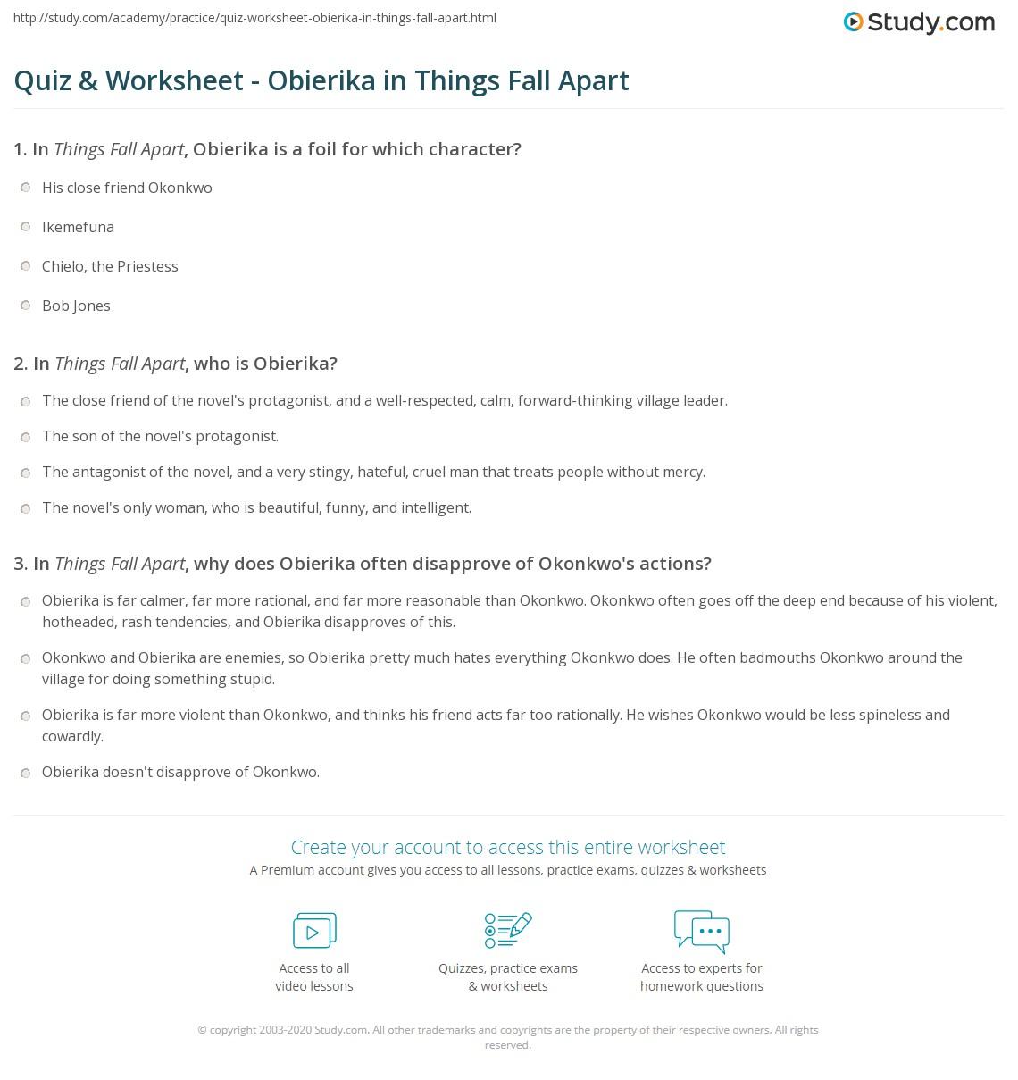 Quiz & Worksheet - Obierika In Things Fall Apart