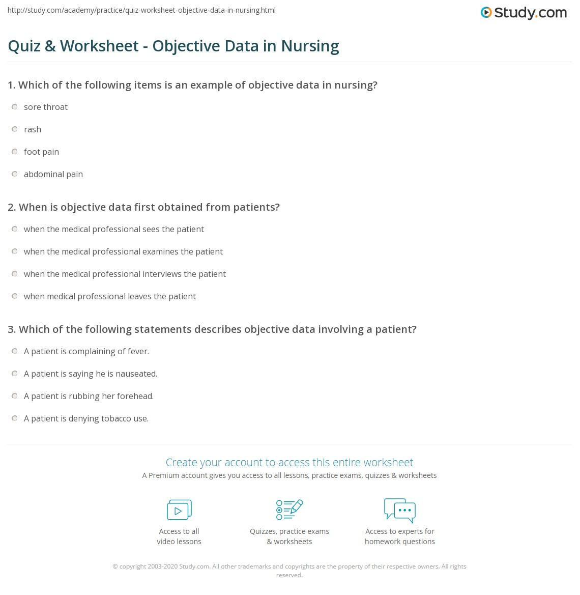 quiz worksheet objective data in nursing com print objective data in nursing definition examples worksheet