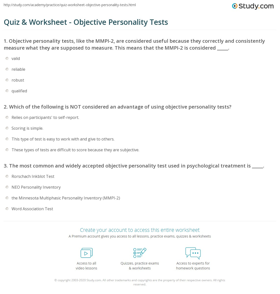 Quiz & Worksheet - Objective Personality Tests   Study.com
