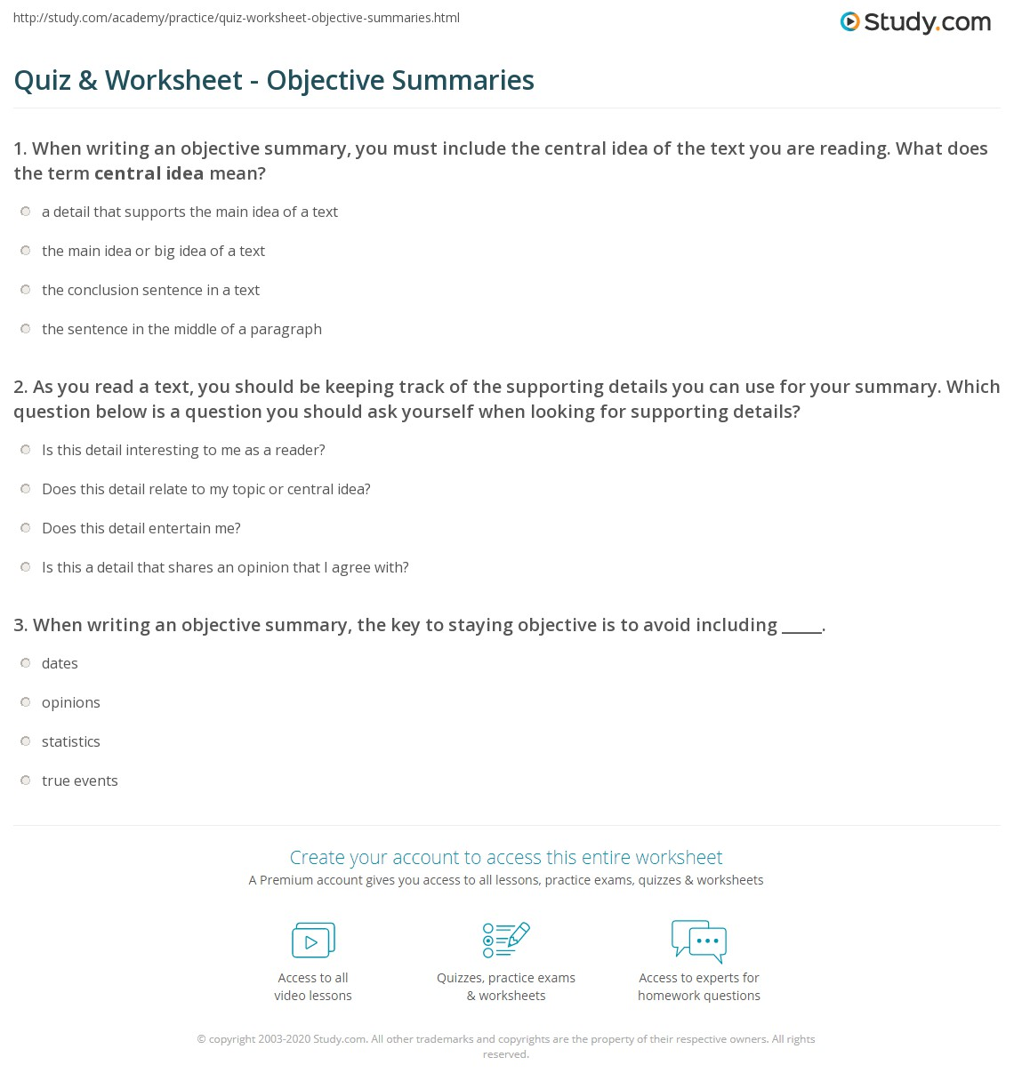 quiz worksheet objective summaries study com as you a text you should be keeping track of the supporting details you can use for your summary which question below is a question you should ask