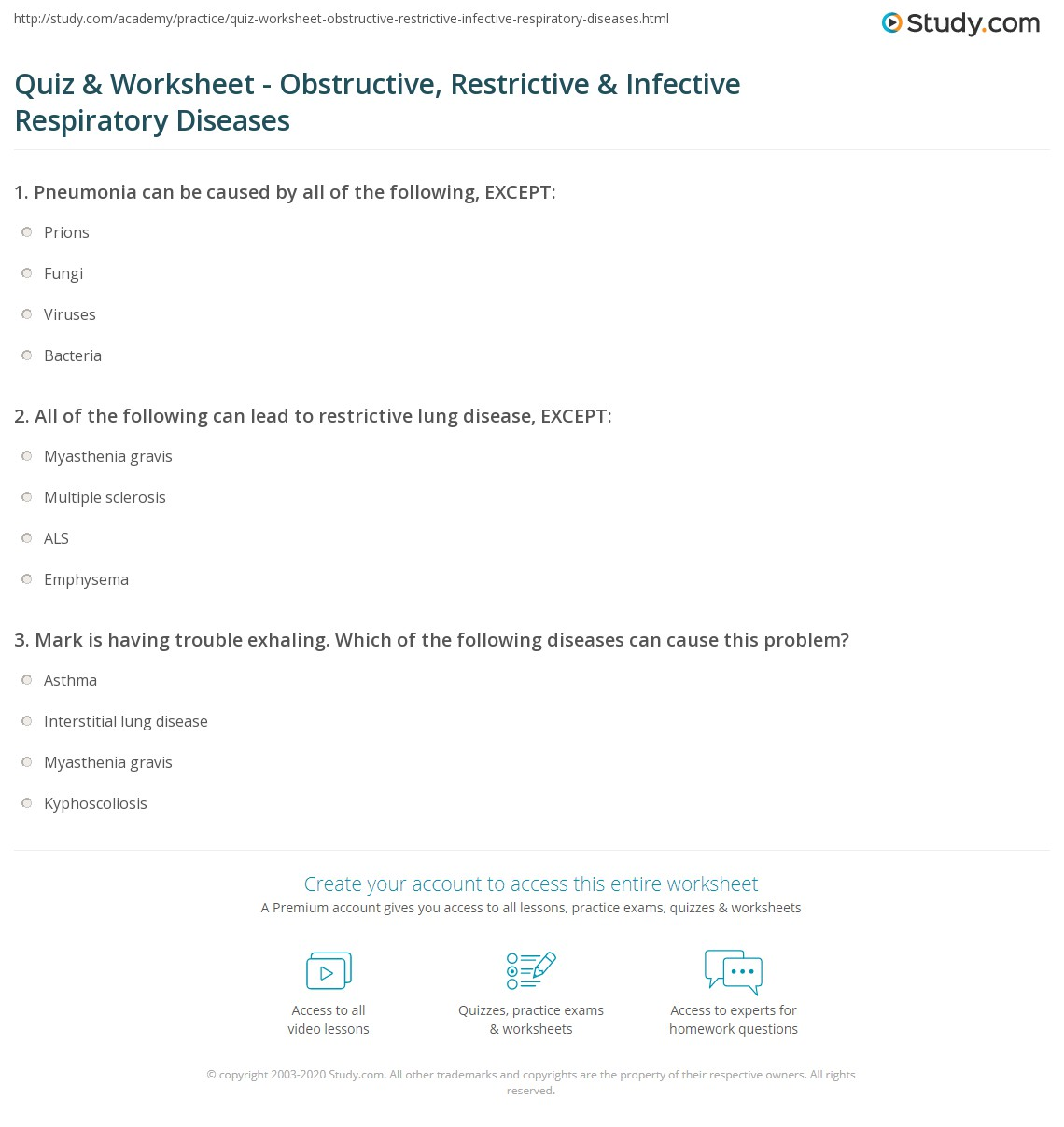 worksheet Respiratory Worksheet quiz worksheet obstructive restrictive infective respiratory print important diseases worksheet