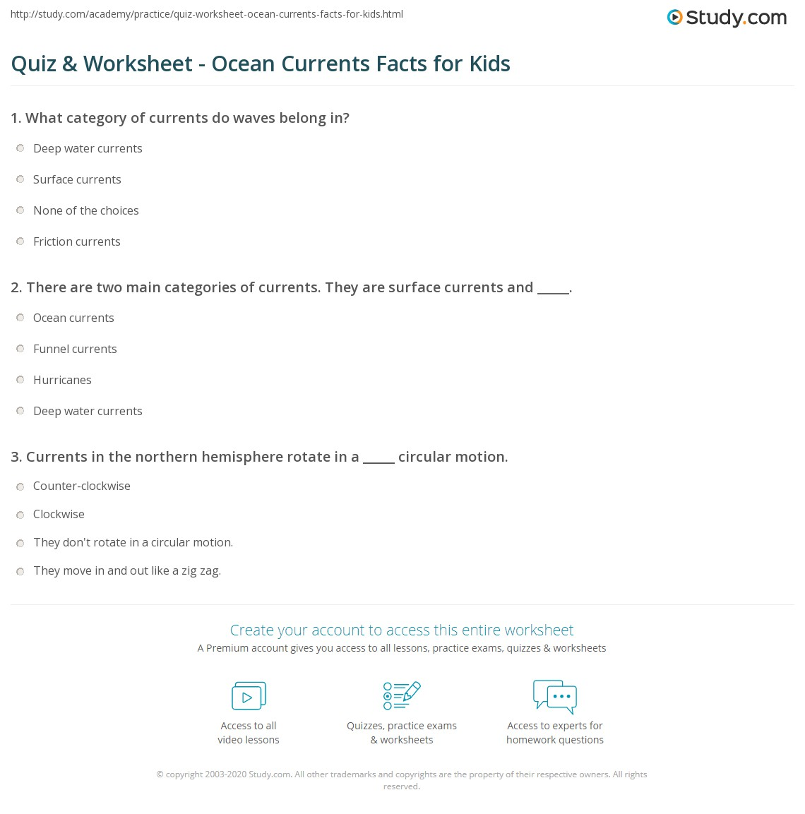 Quiz Worksheet Ocean Currents Facts For Kids Study