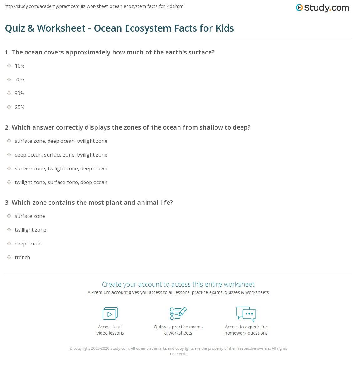 Quiz Worksheet Ocean Ecosystem Facts for Kids – Ocean Zones Worksheet