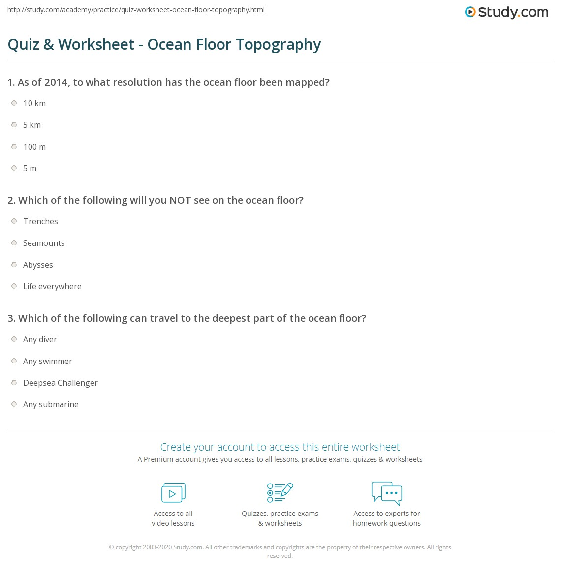 Quiz & Worksheet Ocean Floor Topography