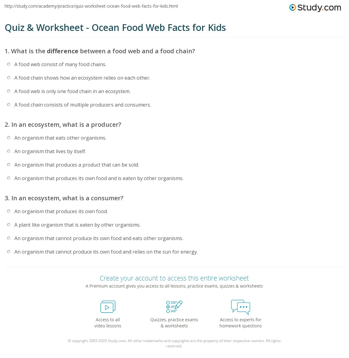 Quiz & Worksheet - Ocean Food Web Facts for Kids | Study.com
