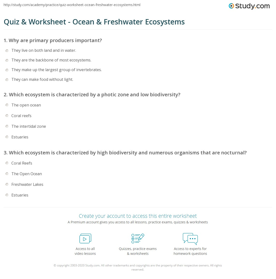 Worksheets Ecosystem Worksheets quiz worksheet ocean freshwater ecosystems study com print of oceans and biological diversity water worksheet