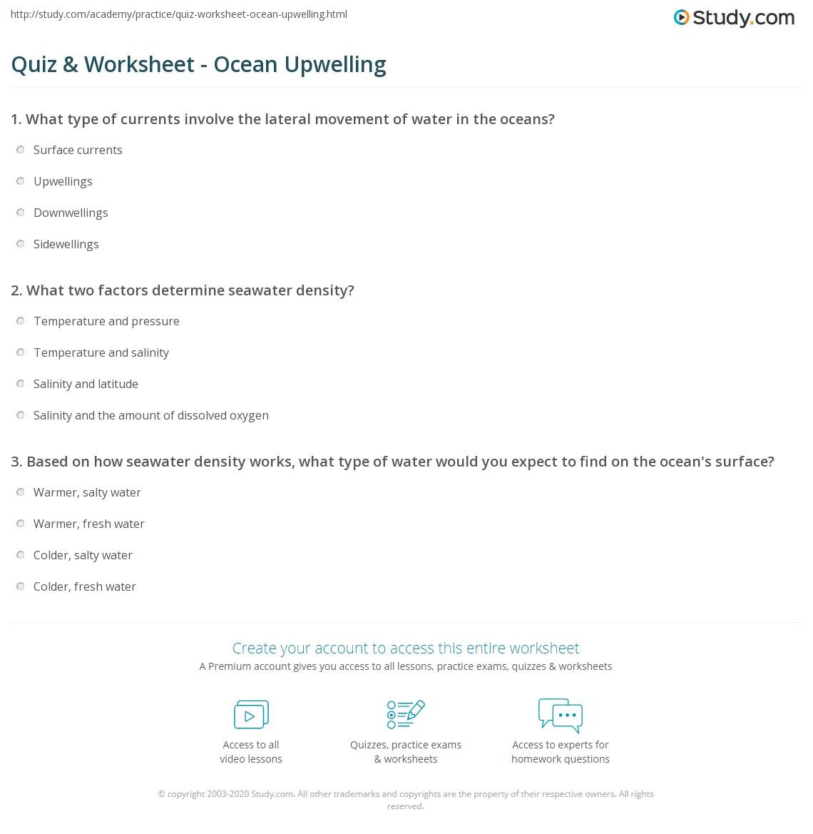 Quiz Worksheet Ocean Upwelling – Ocean Current Worksheet