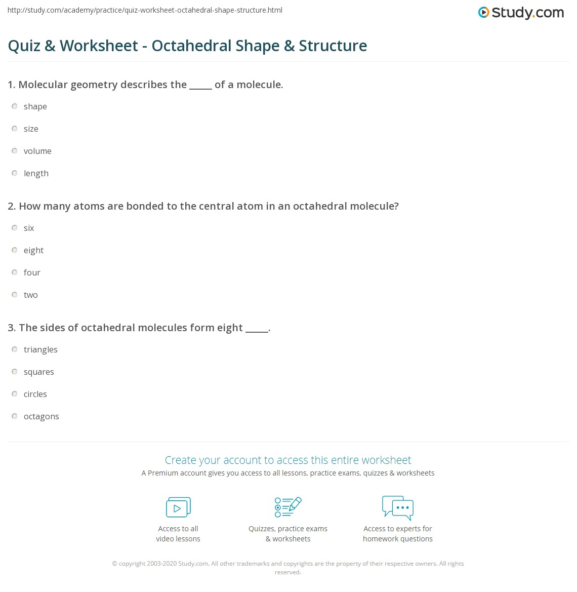 Worksheets Shapes Of Molecules Worksheet quiz worksheet octahedral shape structure study com print in molecular geometry worksheet