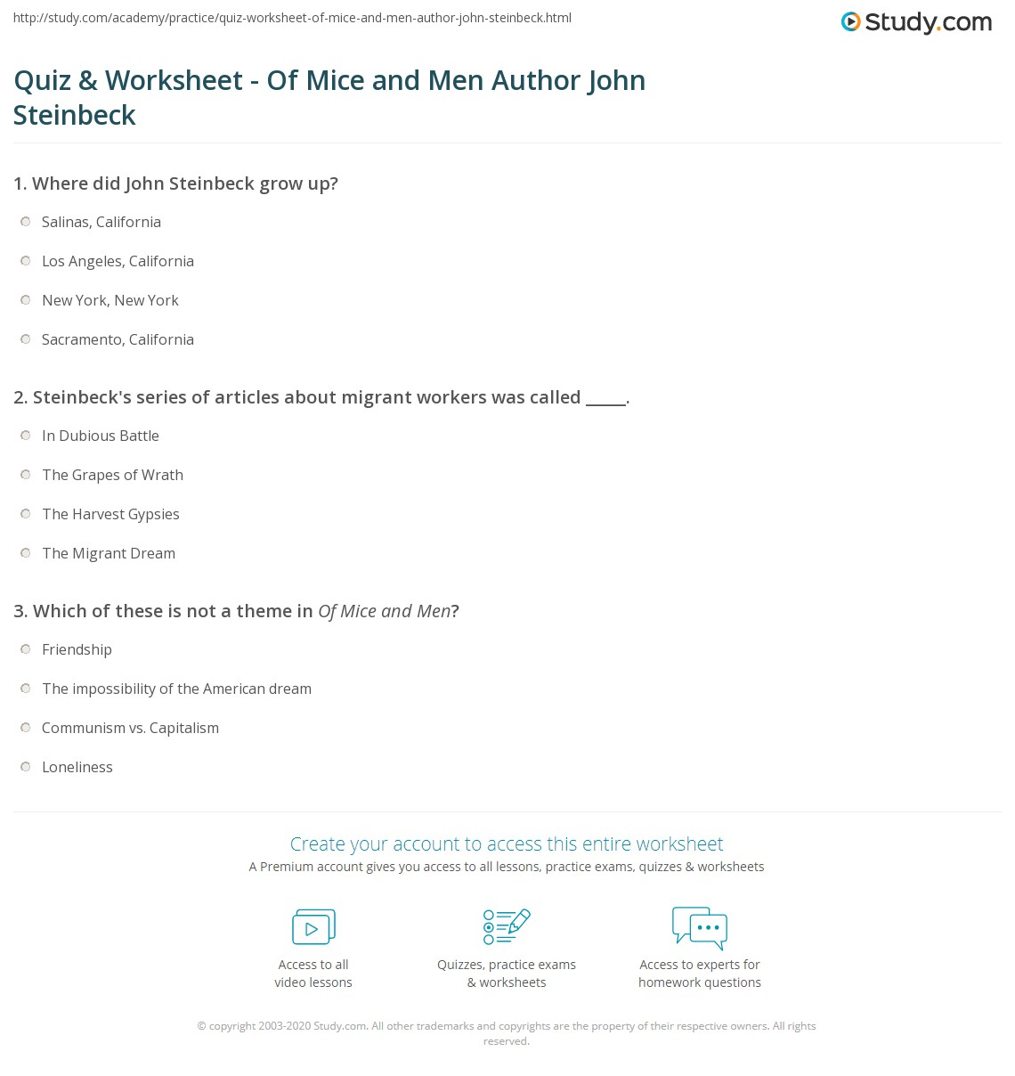 an analysis of the theme of loneliness in john steinbecks of mice and men The theme of loneliness in 'of mice & men' the novel portrays this idea of loneliness throughout john steinbeck's of mice and men character analysis.