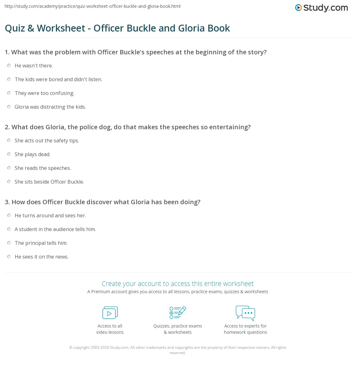 Worksheets Officer Buckle And Gloria Worksheets quiz worksheet officer buckle and gloria book study com print summary vocabulary worksheet