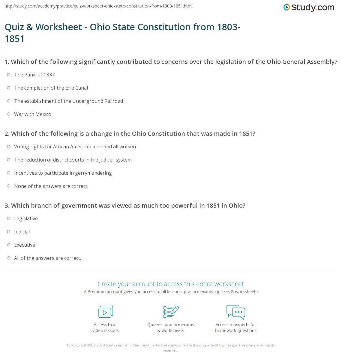 Worksheets Constitution Worksheet quiz worksheet ohio state constitution from 1803 1851 study com print changes to the worksheet