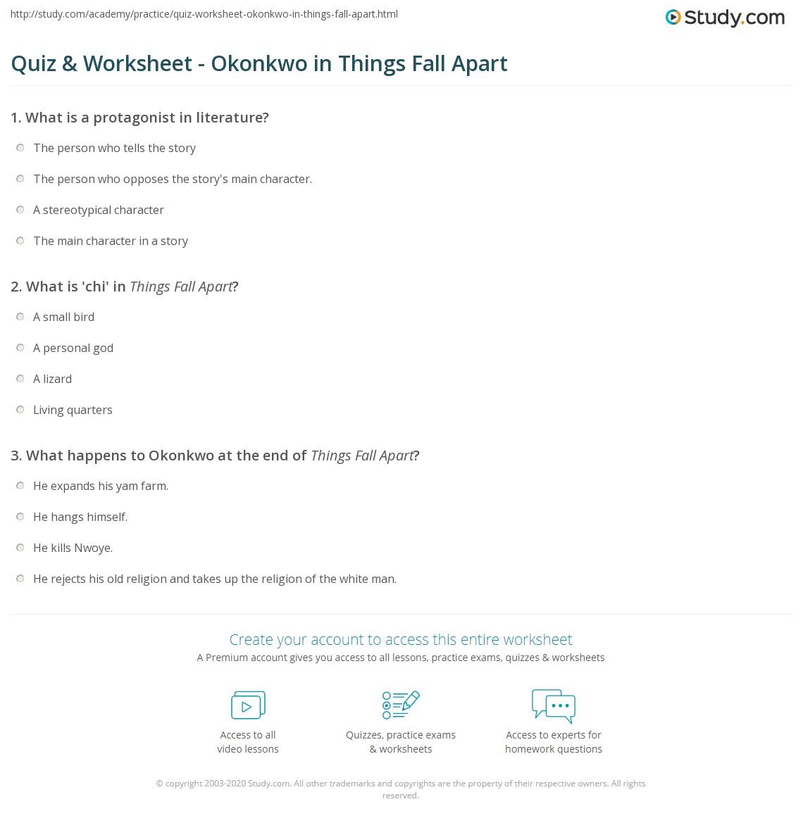 Quiz Worksheet Okonkwo In Things Fall Apart Study Com
